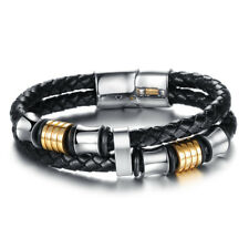 Mens Black Leather Bracelet Engraved Stainless Steel Clasp Christmas Gifts Boxed
