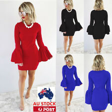 AU Womens Bodycon Mini Dresses Frilled Long Sleeve Clubwear Cocktail Party Dress