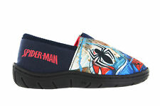 Boys Spiderman Action Print Red & Blue Elasticated Slippers UK Infant Size 7 - 1
