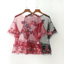 Womens Black/Red Summer Embroidery Mesh T-shirt Sexy Transparent Tops Tee SML