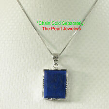 Lapis Lazuli Blue Pendant Necklace Rectangle in Solid Sterling Silver .925 TPJ