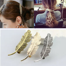 Women Hairpin Big Feather Leaf Hair Clips Gold Silver Plated French Barrette