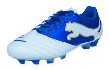 Puma PowerCat 2.12 FG Jr Boys Leather Football Boots / Cleats - White