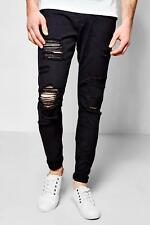 Boohoo Mens Skinny Fit Rigid Jeans With Extreme Rips