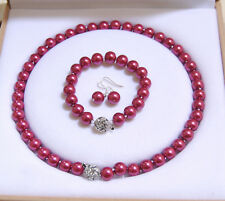 8-12mm Rose South Sea Shell Pearl Round Beads Necklace Bracelet  Earrings AAA+