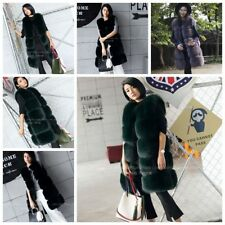 Long Warm Jacket Women Faux Fur Gilet Winter Outwear Ladies Vest Overcoat Coat
