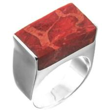 Red Coral Shell Handmade 925 Sterling Silver Ring