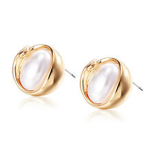 Pearl Fashion Womens Jewelry Cute Stud Earrings yellow Gold filled