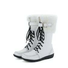 Winter Womens Fashion Lace-Up Buckle Strap Fur Lined Warm Mid-Calf Boots White