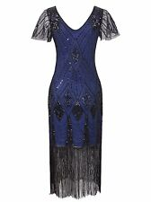 Vijiv Women's 1920s Gatsby Inspired Sequin Beads Long Fringe Flapper Dress
