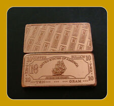 "10 GRAM .999 FINE COPPER ""IRON SHIP"" BULLION BAR"