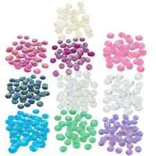 50pcs Round Striped Design AB Color Resin Flatback Cabochon Crafts Buttons 12mm