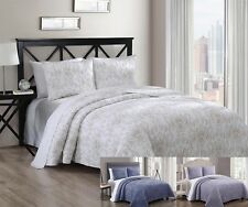 3 Piece Simmon Luxurious 100% COTTON Wrinkle Free Coverlet Bedspread Quilt Set