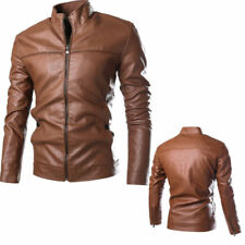Men's Fashion Jackets Collar Slim Motorcycle Leather Jacket Coat Outwear Hot ll0
