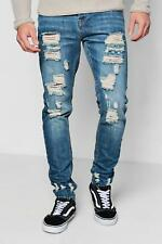 Boohoo Mens Mid Blue Skinny Rigid Jeans With Distressing