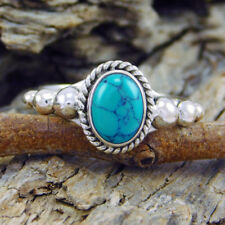 Nobby 925 Silver Filled Gemstone Oval Cut Turquoise Wedding Party Ring Jewelry