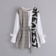 New Womens Casual Plaid Patchwork Long Sleeve Bow Shirt Tops T Shirt SML