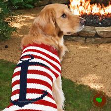 Chilly Dog Sweater Anchor Stripes Dog Sweater Red White Blue MED [18-28 lbs] NEW