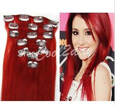 """7 pcs set  15-24"""" 70g 100% Full Head Clip In Remy Real Human Hair Extensions Red"""
