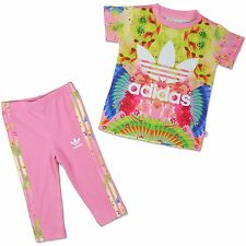 Adidas Kids Feather Flower Trefoil Set 2 Piece Girls Leggings T-Shirt Rosa