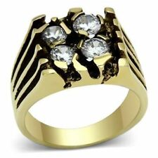 772 MENS CHUNKY SIGNET PINKY SIMULATED DIAMOND 316L STEEL 14K GOLD PLATED RING