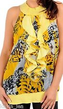 Yellow Leopard Butterfly Ruffle Front/Button Back Collar Sleeveless Top