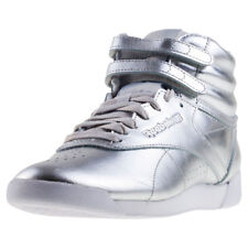 Reebok Freestyle Hi Metallic Womens Trainers Silver New Shoes