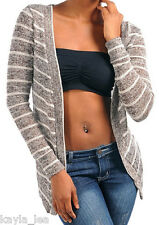 Medium Brown/Taupe Stripe Long Sleeve Cover-Up Sweater Cardigan S/M/L