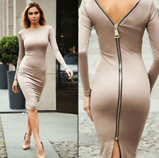 Women Fashion Sexy Slim Zipper Long Dress Solid Close-fitting Long Skirt