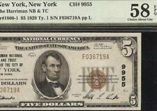 1929 $5 DOLLAR BILL HARRIMAN NATIONAL BANK NOTE CURRENCY CHARTER 9955 PMG 58 EPQ