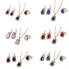Fashion Waterdrop Rhinestones Necklace Ring Earrings Women Jewelry Set Exquisite