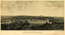 Poster Print Antique American Cities Towns States Map Highland Illinois