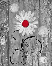 Rustic Red Gray Daisy Flower Wall Art Home Decor Matted Wall Art Matted Picture