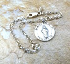 Sterling Silver St Jude Thaddeus Charm on  Sterling 3mm Rolo Bracelet - 3074
