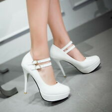 Womens Round Toe Buckle Strap Platform High Heels Pumps Stilettos Shoes New