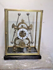 Antique Finish Mechanical Movement Harrison Grasshopper Clock--With Glass Dome