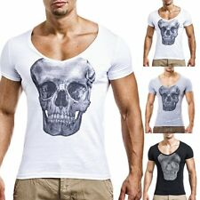 Mens Casual Slim Fit Stylish Long Sleeve Round Neck Skull Printed Tops T-shirt