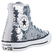 Converse Chuck Taylor Allstar Hi Sequin Womens Trainers Silver New Shoes