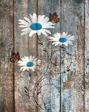 Brown Blue Rustic Daisy Flowers Butterfies Home Decor Wall Art Matted Picture