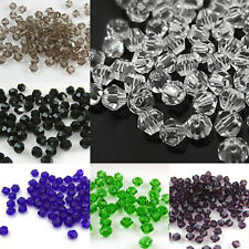 100Pcs 4mm Artificial Crystal Bicone Shape Spacer Loose Beads Jewelry Findings P