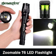 Zoomable 20000LM 5-Mode  XM-L T6 LED Flashlight Lamp Light Torch 18650+Charge -