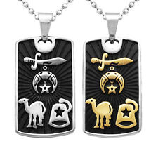 Silver Stainless Steel Ball Bead Chain Camel Star Dog Tag Pendant Necklace