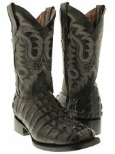 Mens Black Crocodile Tail Leather Western Rodeo Cowboy Riding Square Boots
