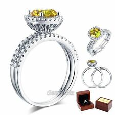 925 Sterling Silver Engagement Halo Ring Set 2 Ct Yellow Canary Lab Diamond