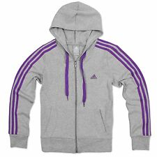 Adidas Performance Ess 3s Hoodie Women's Training Jacket Grey Purple 34 - 46