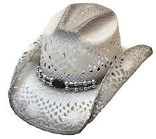 Ladies White Straw Western Cowgirl GENUINE COUNTRY HAT Rodeo Fashion Festival