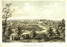 Poster Print Antique American Cities Towns States Map Waukesha Wisconsin