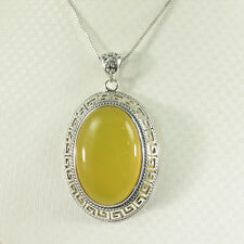 Cabochon Oval Shaped Yellow Agate Pendant Solid Sterling Silver .925 TPJ