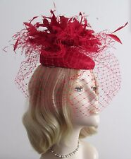 FAILSWORTH TULIP RED SINAMAY PILLBOX  HAT, Feathers, netting, elastic, Brand New