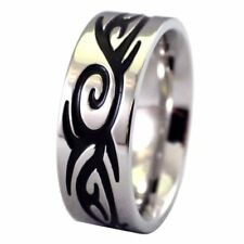 Mens Engraved Tribal 316L Stainless Steel Ring 8mm Wide Band Size 9.5-13